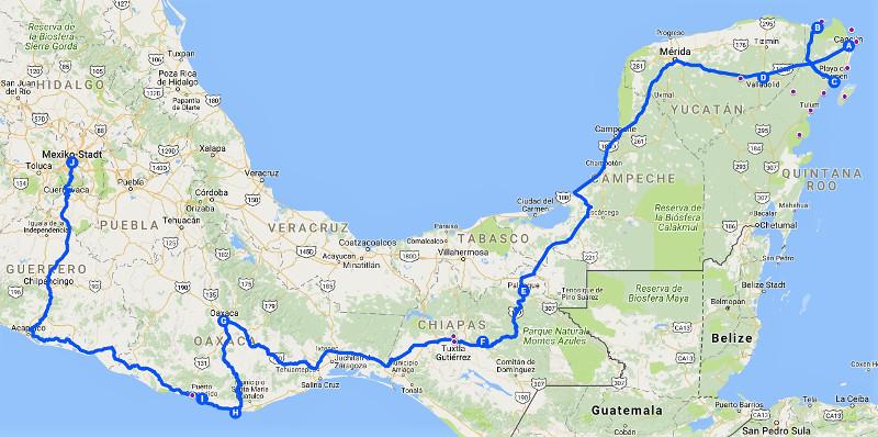 Reiseroute - Zwei Monate Mexiko - Meine Reiseroute